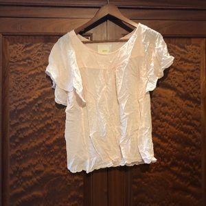 Pale Pink Maeve flutter sleeve Swiss dot blouse 10